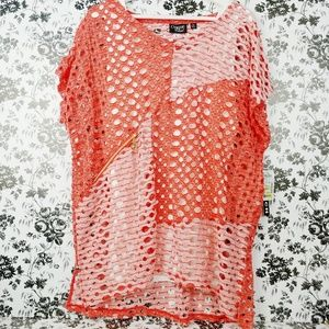 Onque Casual zipper netted top with tank